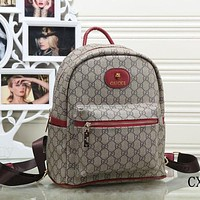 Gucci Popular Women Men Letter Print Leather Bookbag Shoulder Bag Handbag Backpack Red I