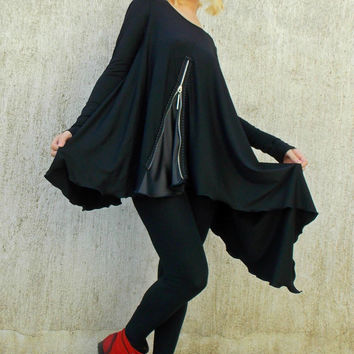 Black Asymmetric Tunic / Black Tunic / Loose Tunic with Leather Inset