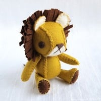 Dandy the Lion Wool Felt Plush Art Doll MADE by nonesuchgarden