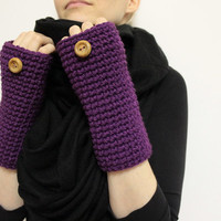 Plum Fingerless Mitts, Wool Texting Gloves, Hand Warmers, Crochet Open Gloves, Purple Wrist Warmers, Bulky Open Mittens, Plum Gloves