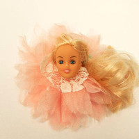 Rockabilly Accessory - Off with Her Head - Large Pink Tulle Flower with White Lace and Blonde Barbie Head