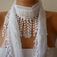 Creamy White Scarf - Cotton Scarf -  Necklace Cowl Scarf - Creamy White - fatwoman