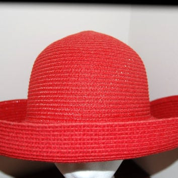 Early 70's Betmar of New York Straw Woven Hat / Bright Red / Sun Hat / Church Hat / Brim Hat / One Size Fits All