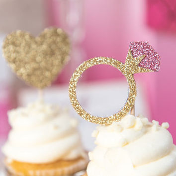 Pink Diamond Ring Cupcake Toppers | Valentine's Day | Engagement Party Decor | Bachelorette Party | Glitter Decorations