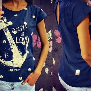 Large Size Fashion Casual Back Hollow Polka Dots Pattern Print Round Neck Cotton T-shirt Tops