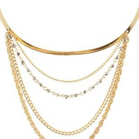 Gold Chain-Draped Choker Necklace by Charlotte Russe