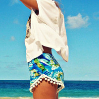 BLUE PALM POM POM SHORTS