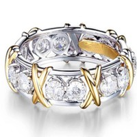 CZ Gold & Sterling Silver Designer Style Ring Band