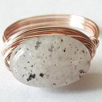 Lodolite ring - Quartz ring - wire wrapped jewelry handmade - mossy ring - funky ring - spotted stone ring - unique ring - oval stone ring