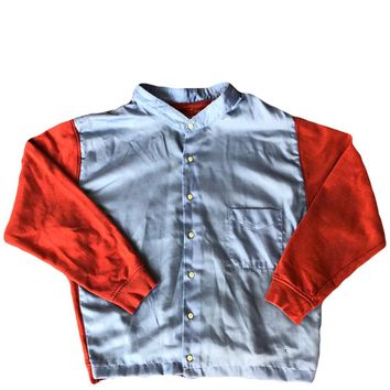 *Rob Don - Hybrid Button Up Sweater - Coral / Blue