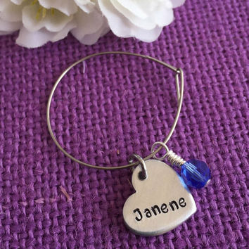 Personalized Wine Glass Charm - Single charm - Hand Stamped Wine Glass Charm - Stainless Steel Ring - Birthstone - Party Favor - Win