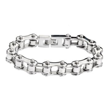 Silver Stainless Steel Racing Chain Bracelet