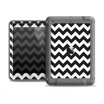 The Black & White Chevron Pattern Apple iPad Air LifeProof Fre Case Skin Set