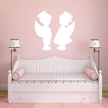 Angel wall decal, Angel kiss wall decal, angel wall art decor, Angel kids nursery, angel wall stickers, angel wall decor sticker  /i75