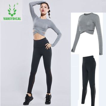 Vansydical Sports Suits Women's Gym Clothes Yoga Set Elastic Running Tights Fitness Training Clothing Jogging Suits Tracksuits