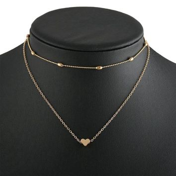 New Fashion Lovely Style 2 layers Love Heart  Adjustable Necklace Multilayer Chain Choker Necklace For Gift 2 Pcs/Set