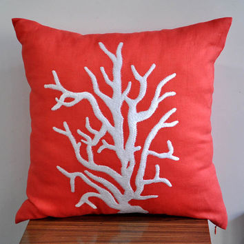 White Nautical Reef Throw Pillow Cover 18 x 18 by Kainkain