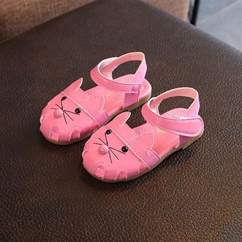 Kids Girls Shoes Children PU Cute Animal Print Shoes For Girl Non-slip Kids Girl Sandals Summer Baby Girls Shoes