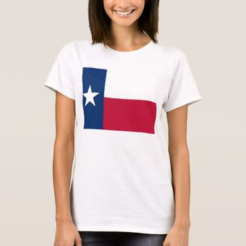 Women T Shirt with Flag of Texas State