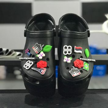 Balenciaga Crocs Black Foam Platform Sandals Charms Embellished Resin Wedge Clogs - Best Online Sale