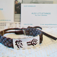Braided Leather Kokopelli Wolf Bracelet Native American Unisex Southwestern Jewelry