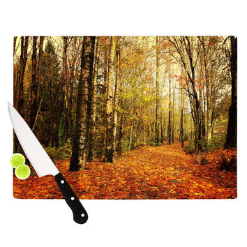 "Sylvia Cook ""Autumn Leaves"" Rustic Cutting Board"