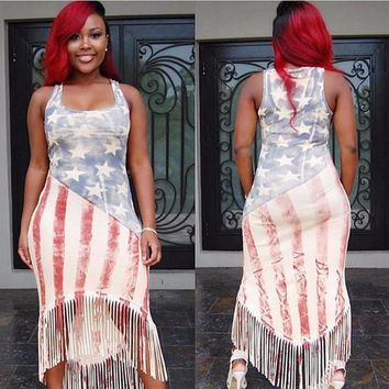 American Flag Print Tassel Maxi Dress