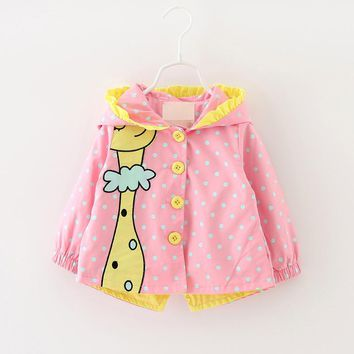 New Autumn Kids Girls Coats Clothing Baby Girls Fashion Cartoon Dots Hooded Trench Coats 6-24 months Clothing of Girl
