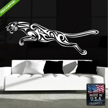 Wall Decal Decal Sticker Beautiful Leopard Cat Head Animal Tree Bedroom  z182