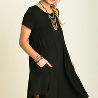 Black Pocketed A-Line Swing Dress