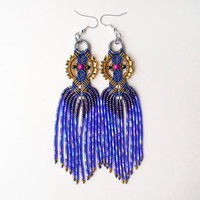 Bohemian long fringe micro macrame earrings - Sparkly Navy / Capri Blue Gold Unique Beadwork