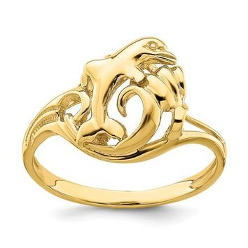 14k Yellow Gold Dolphin Jumping In Wave Ring