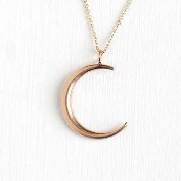 ESB9N Antique 10k Rose Gold Crescent Moon Pendant Necklace - Vintage Early 1900s Art Nouveau