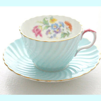 Vintage, English Bone China Tea Cup and Saucer by Aynsley Pastel Blue with Pink Handle, Tea Party, Replacement China - ca. 1934 - 1950s