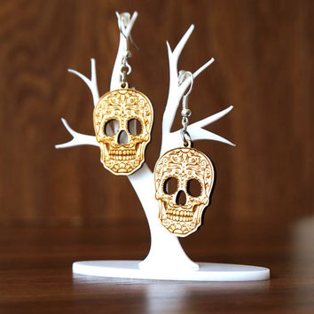 Sugar Skull Wooden Earrings Mexican Skulls Laser Cut Wood Calavera Halloween Day of the Dead Rock Calaca Skull Jewelry The Best Gift for Her