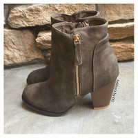 """Style and Flare"" Always Faithful Taupe Heel Bootie Boots"