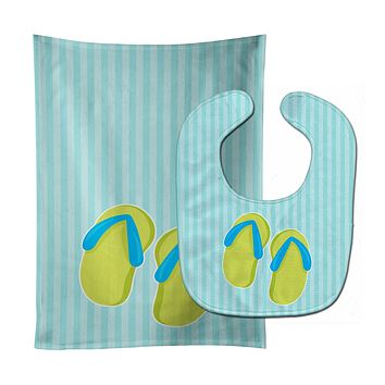 Beach Flip Flops Baby Bib & Burp Cloth BB8645STBU