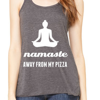 Namaste Away From My Pizza Graphic Print Yoga Tank Top - Gray, Royal Blue or Red