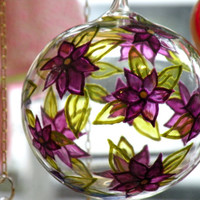 Glass Painting, Hand painted Decorative Hand Blown Glass Ball, Hanging Glass Ball, Glass Painting, Puple and Green Sun Catcher