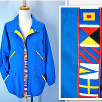 Vintage 1980s Jacket / Blue Lightweight Color Contrast Coat