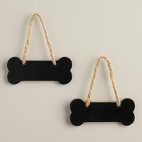 Mini Dog Bone Chalkboards, Set of 2 - World Market