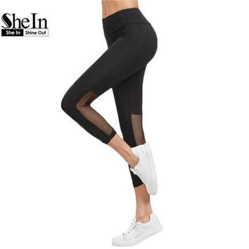CREY8UH SheIn Leggings Women Casual Womens Fitness Clothing Ladies New Arrival 2017 Black Wide Waistband Mesh Panel Crop Leggings