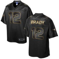 Men's New England Patriots Tom Brady NFL Pro Line Black Gold Collection Jersey
