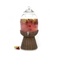 Gibson Home Ninove 2.1 gal Glass Drink Dispenser with Basket Base, Glass