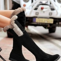 New Black Round Toe Fashion Over-The-Knee Boots