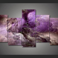 Purple Crush Clouds 5-Piece Wall Art Canvas