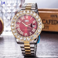 Rolex Fashion Hot Quartz Classic Diamond Round Shell Watch Women Men Wristwatch 1#