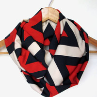 Navy Red Taupe Chevron Infinity Scarf // Peach Skin Fabric // Chevron Scarf // Fall Scarves // Nautical Scarf // Fall Trends // Fall Fashion
