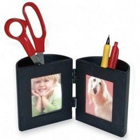 deflect-o Pencil Cup with Photo Frames, Black (35004)