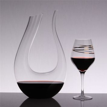 1.5L Luxurious Crystal Glass U-shaped Horn Wine Decanter